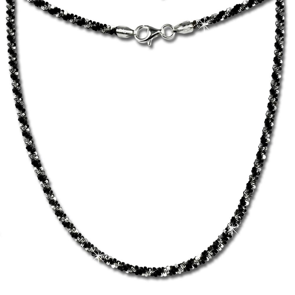 SilberDream Collier Kette gedreht schwarz 925 Silber Damen 45cm SDK21645S