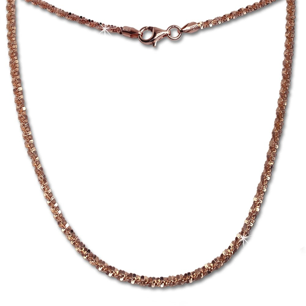 SilberDream Collier Kette gedreht rose vergoldet 925 Silber Damen 45cm SDK21845E