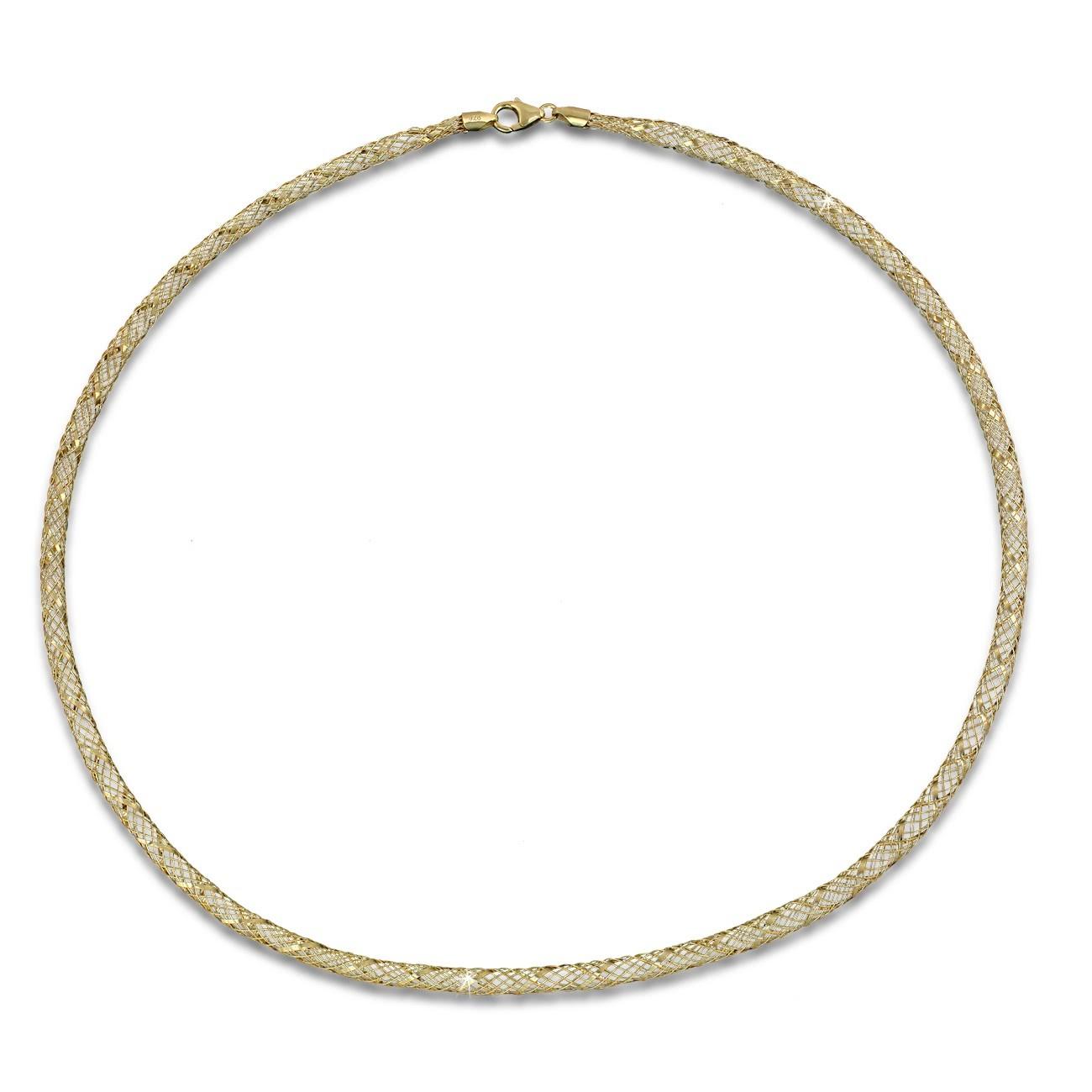 SilberDream Collier Kette Gitter vergoldet 925 Silber Damen 50cm SDK2195Y