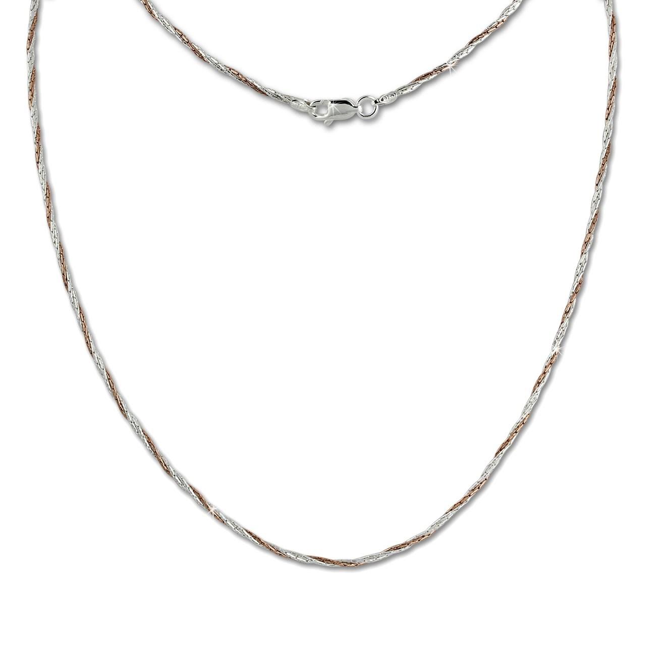 SilberDream Collier Kette gedreht Rose vergoldet 925 Silber 45cm SDK22145E