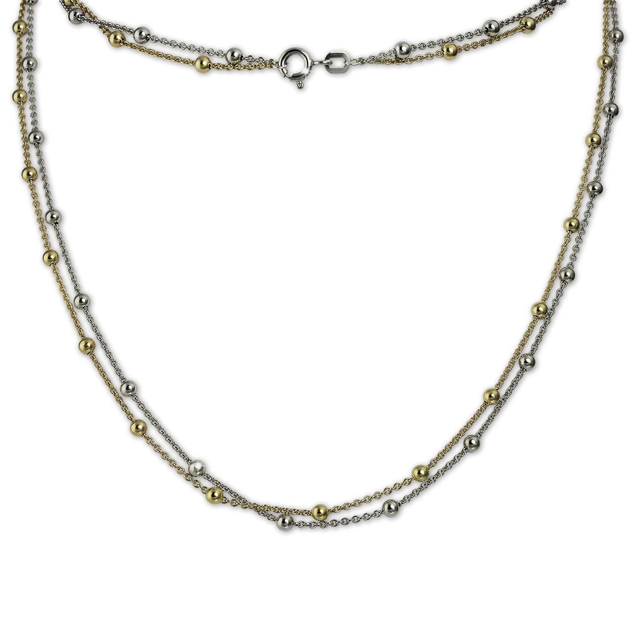 SilberDream Collier Kette Kugeln vergoldet 925er Silber Damen 45cm SDK22345T