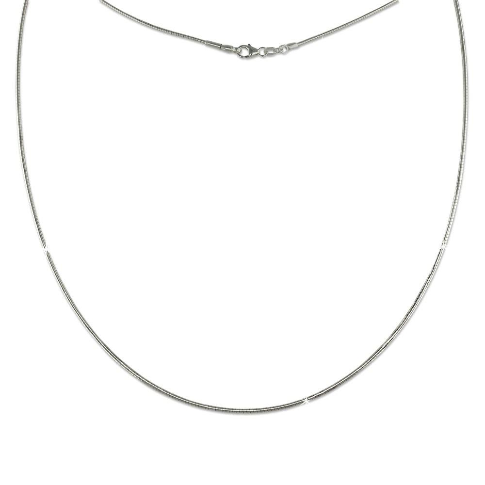 SilberDream Omega Halskette 925er Silber Damen Halsreif 45cm SDK23145J