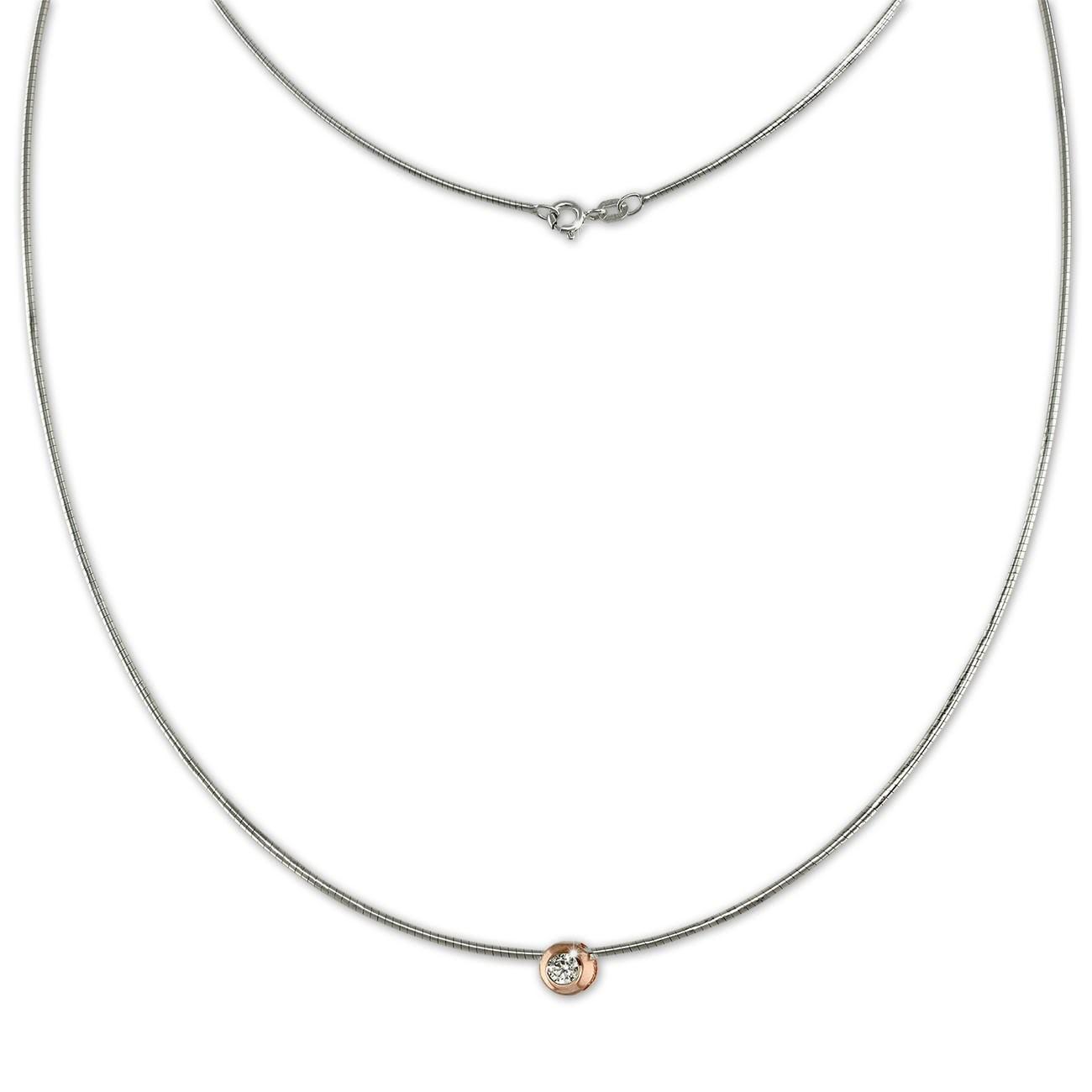 SilberDream Omega Halskette Zirkonia rose aus 925er Silber Damen 50cm SDK23245E