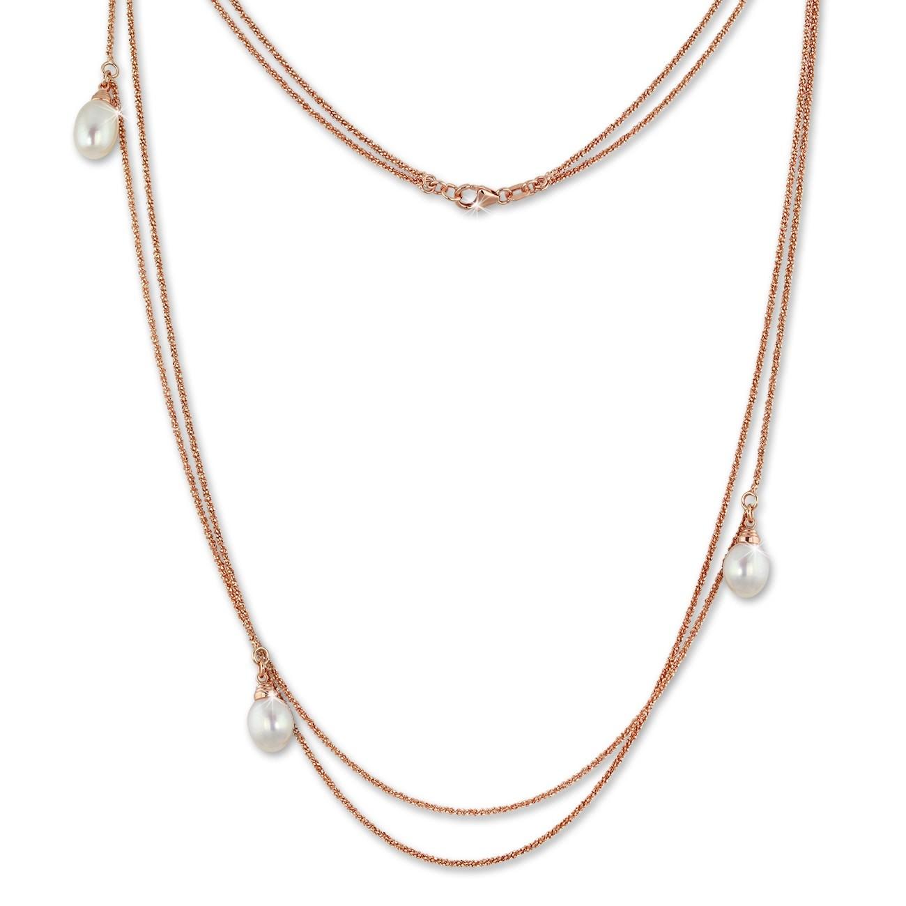 SilberDream Collier Doppel Kette Perlen rose vergoldet 925 Silber 90cm SDK2369E