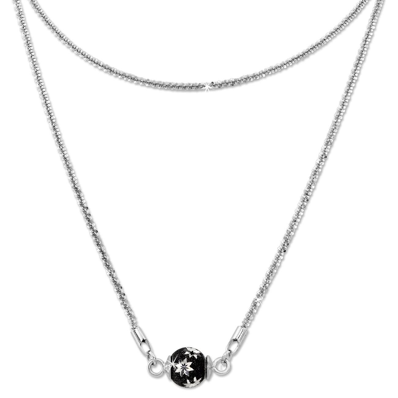 SilberDream Collier Kette Kugel Stern schwarz 925 Silber Damen 45cm SDK23945S