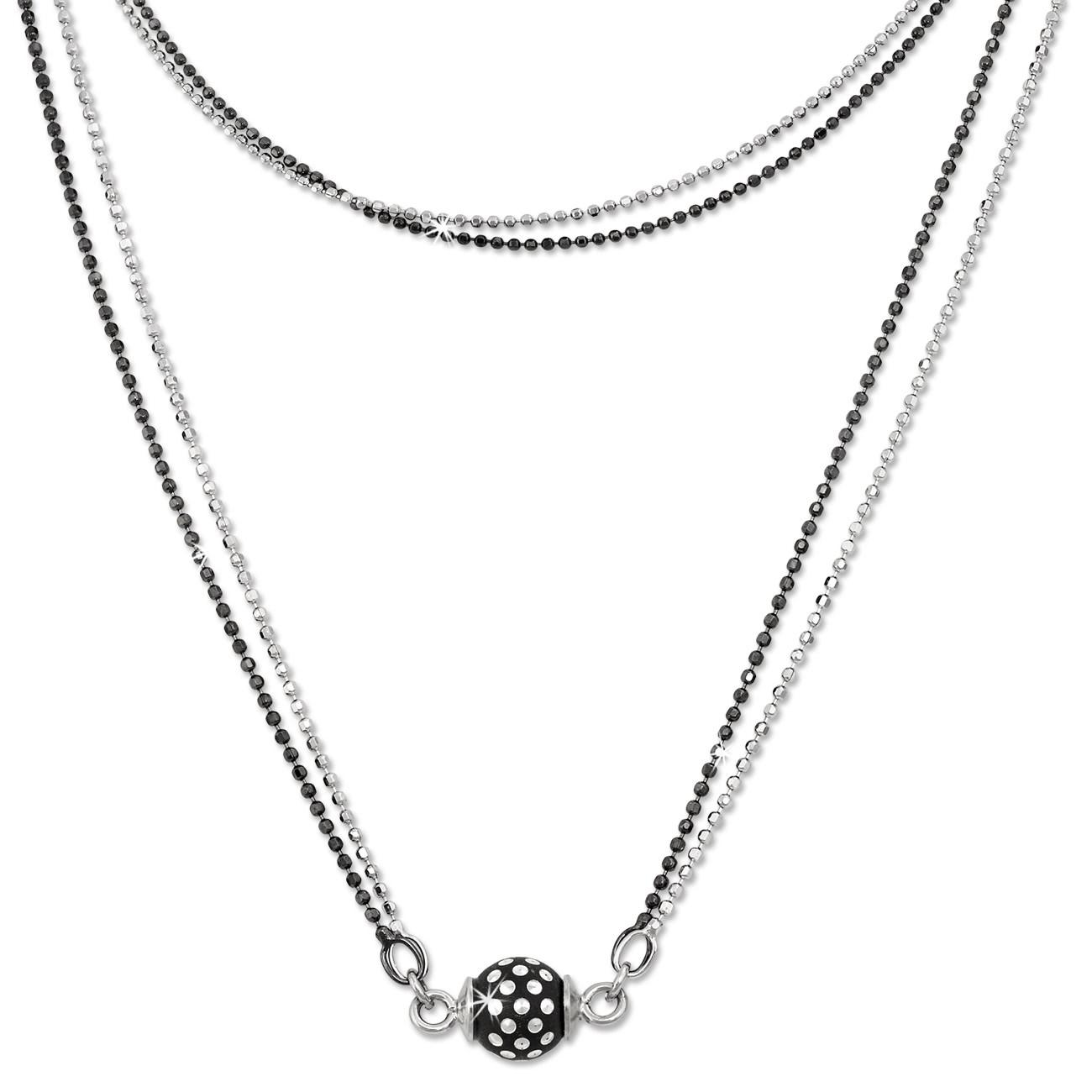 SilberDream Collier Kette Kugel Punkte schwarz 925 Silber Damen 45cm SDK24045S