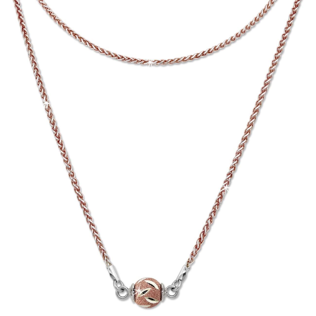 SilberDream Collier Kette Kugel Blatt rose 925 Silber Damen 46cm SDK24146E