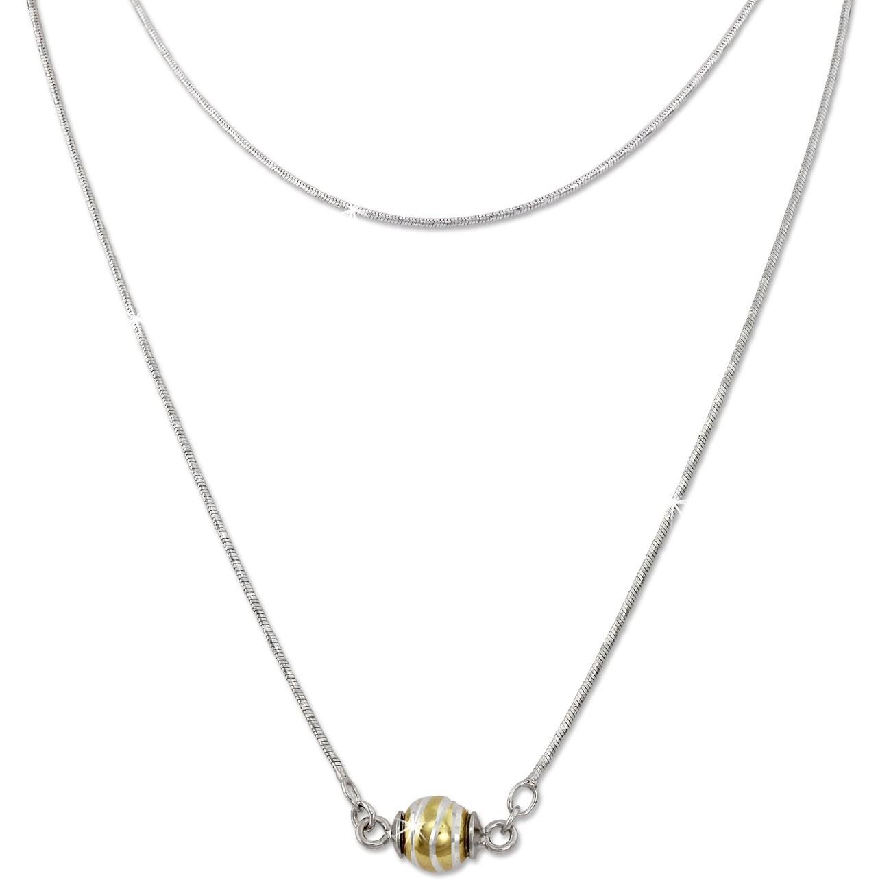 SilberDream Collier Kette Kugel Welle vergoldet 925 Silber Damen 45cm SDK24345Y