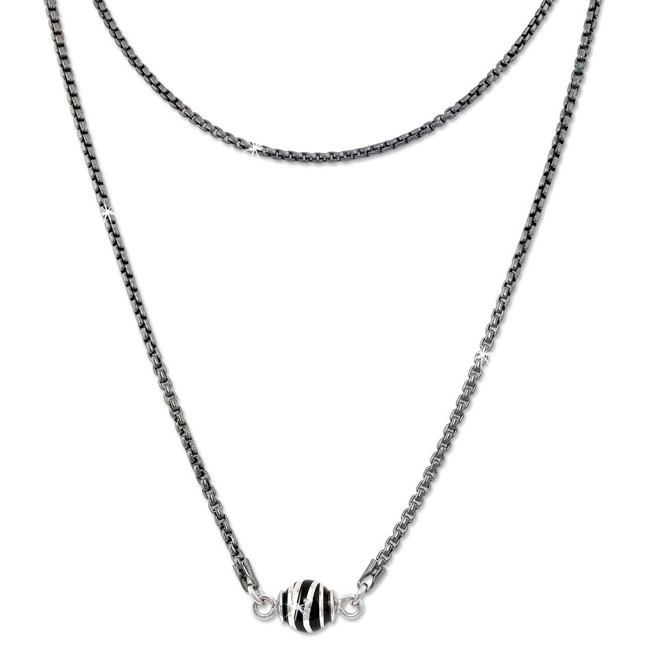 SilberDream Collier Kette Kugel Welle geschwärzt 925 Silber Damen 46cm SDK24446S