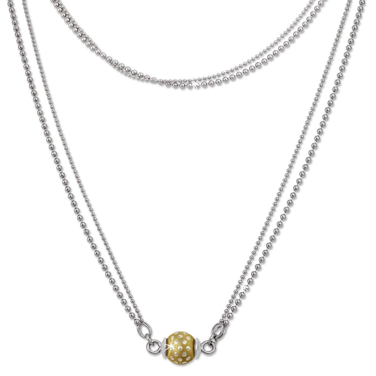 SilberDream Collier Kette Kugel Punkte vergoldet 925 Silber Damen 45cm SDK24645Y