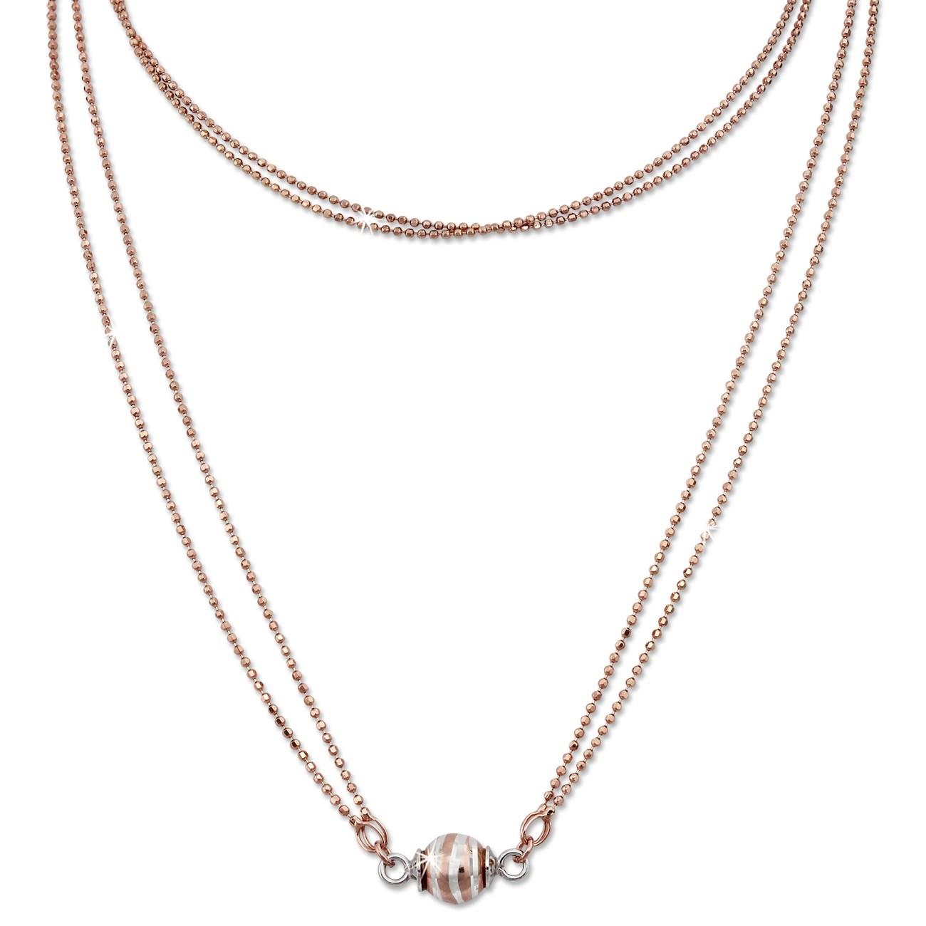SilberDream Collier Kette Kugel Welle rose 925 Silber Damen 45cm SDK24745E