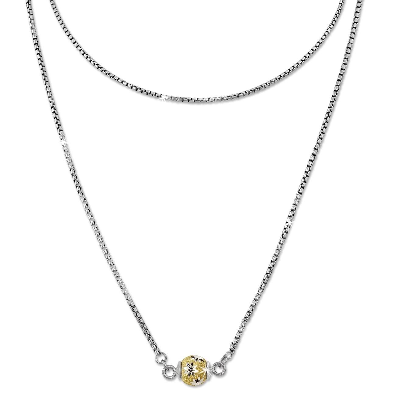 SilberDream Collier Kette Kugel Blumen vergoldet 925 Silber Damen 45cm SDK24845Y
