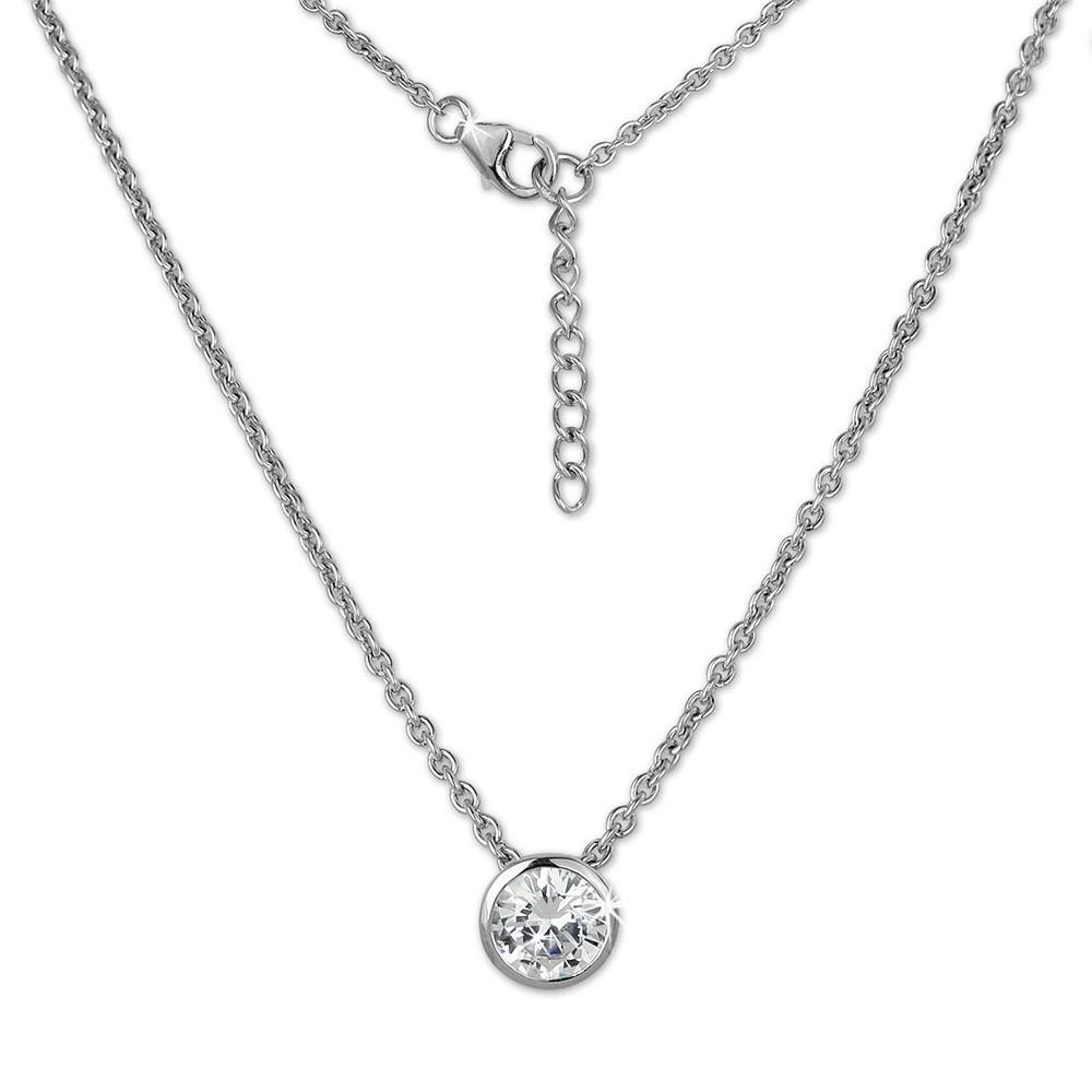 SilberDream Halskette mit Zirkonia Anhänger rund, 42cm mit Verlängerung SDK252W