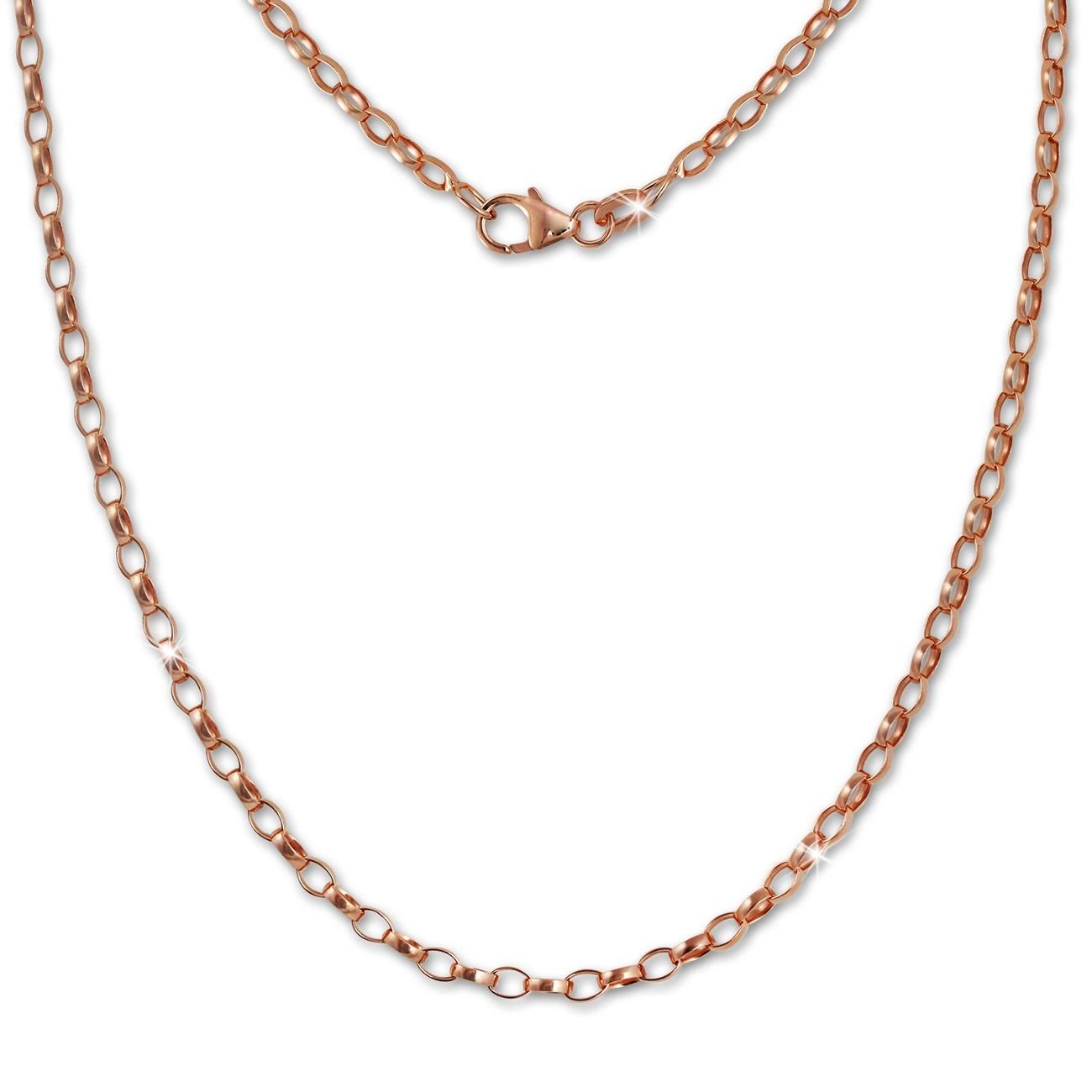 SilberDream Erbskette oval rose 925 Silber Damen Halskette 45cm Kette SDK26045E