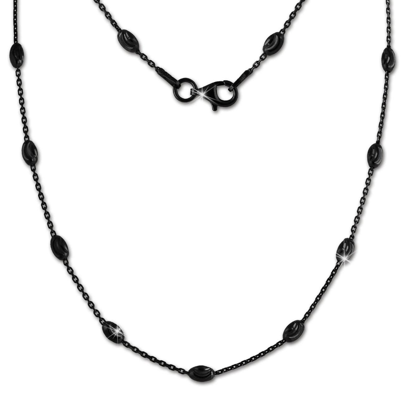 SilberDream Kette Glamour diamantiert 45cm schwarz 925 Silber Damen SDK26245S
