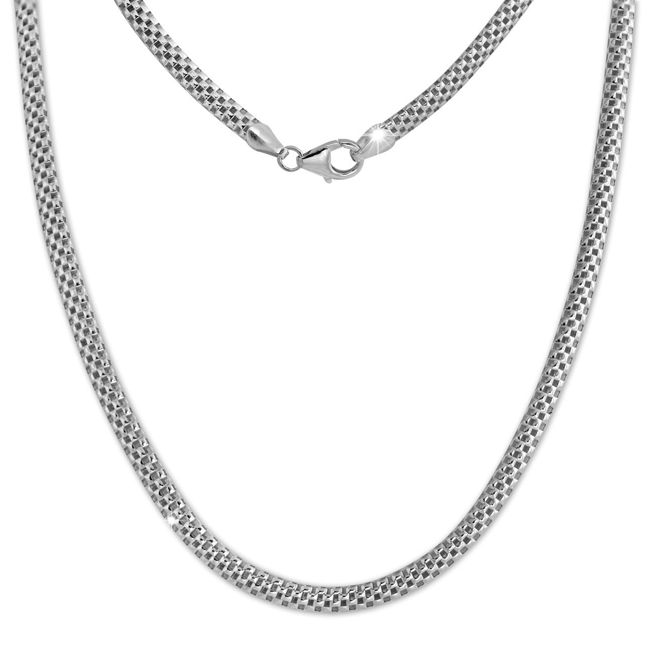 SilberDream Collier Kette Geflecht 925er Silber Damen 45cm SDK26445J