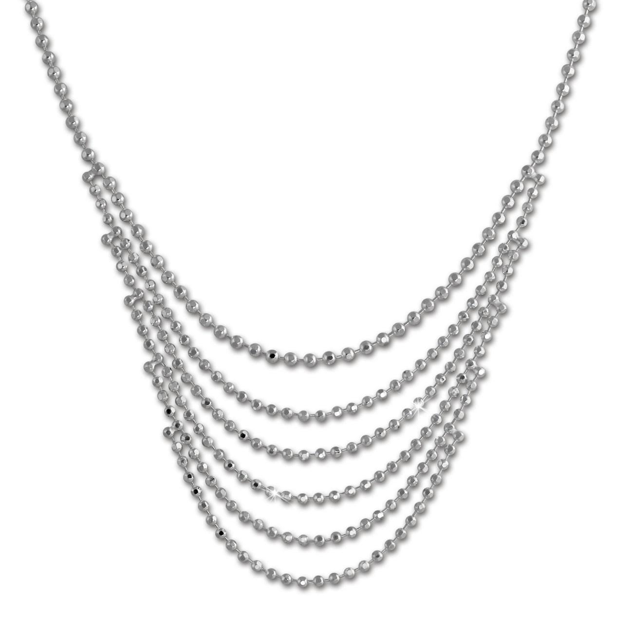 SilberDream Kugelcollier 925er Silber Halskette 42cm - 47cm Kette SDK27042J