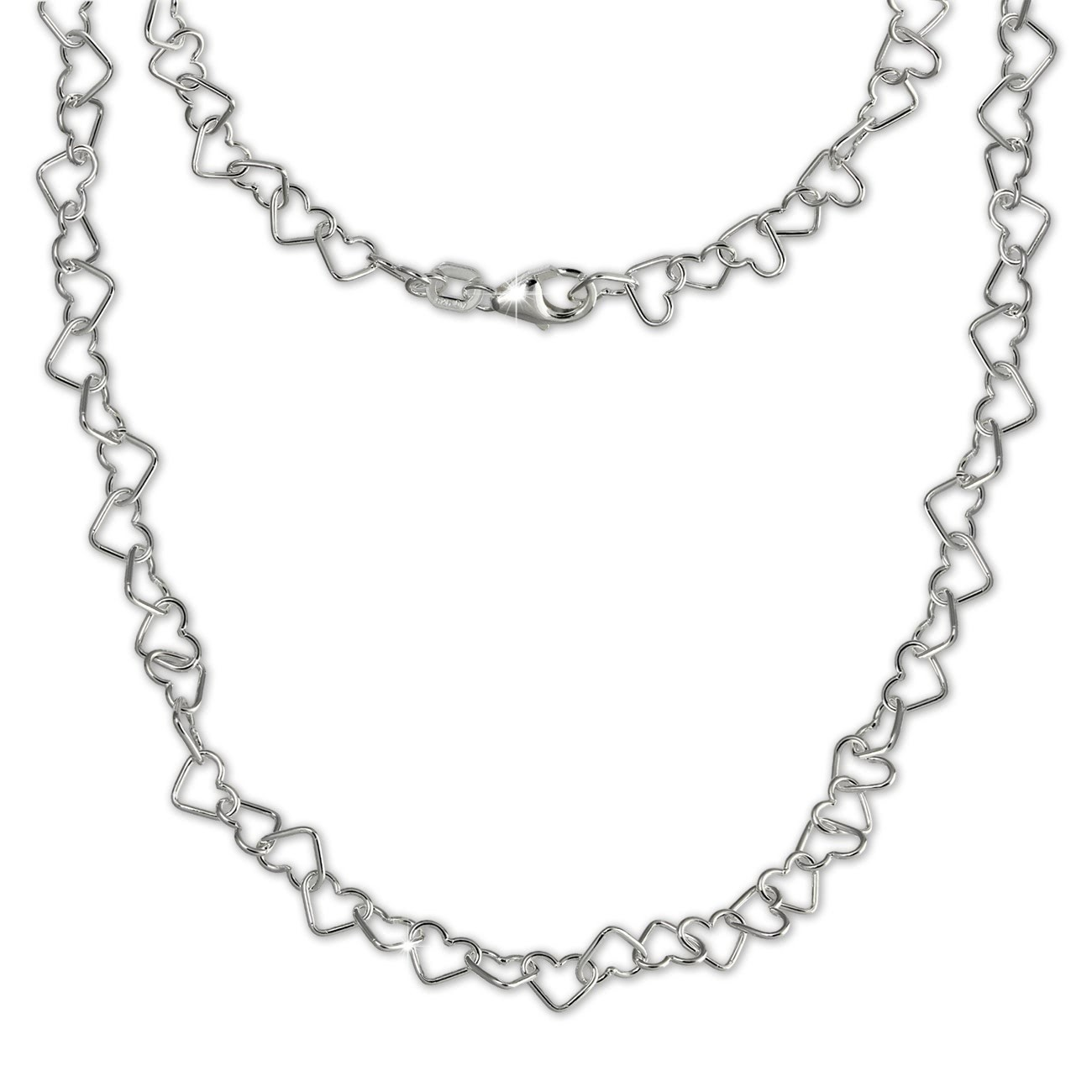 SilberDream Damen Kette Herzchen 925er Silber 45cm Damen Halskette SDK27546J