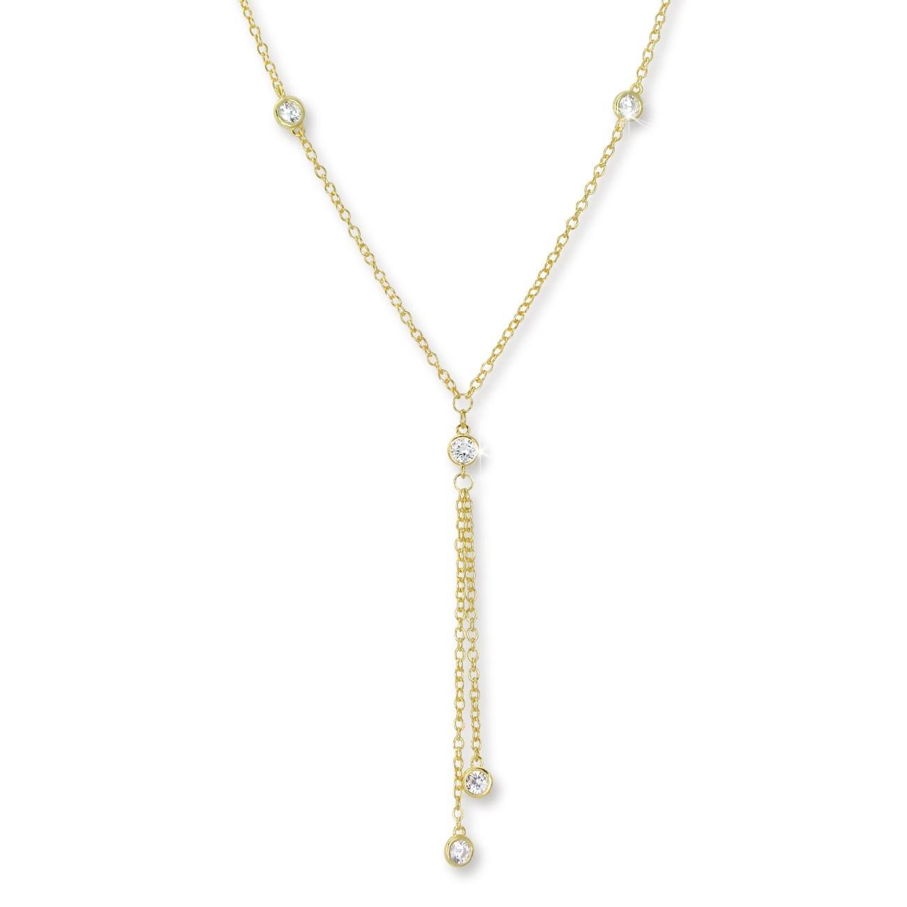 SilberDream Collier Kette vergoldet Zirkonia 925er Silber Damen 45cm SDK27845Y