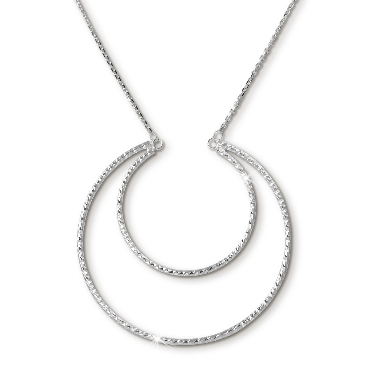 SilberDream Halskette mit Anhänger Doppel-Creole, 42cm 925er Silber SDK28142J