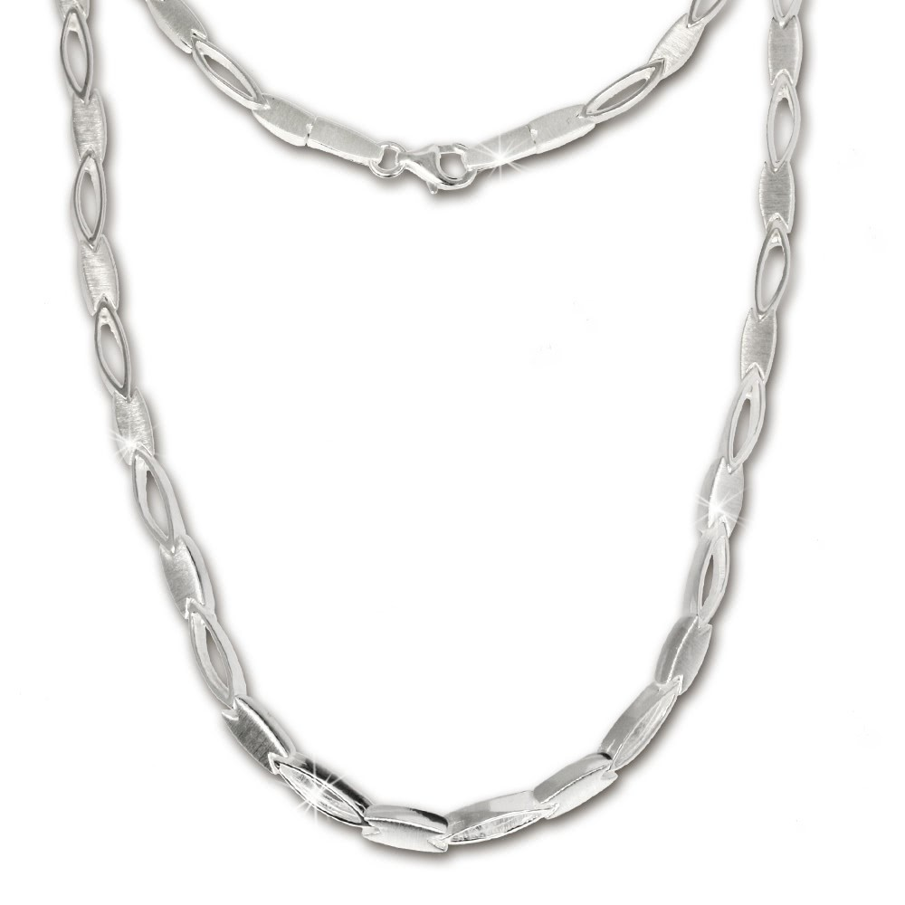 SilberDream Collier oval matt Kette 925 Silber 45cm Halskette SDK403