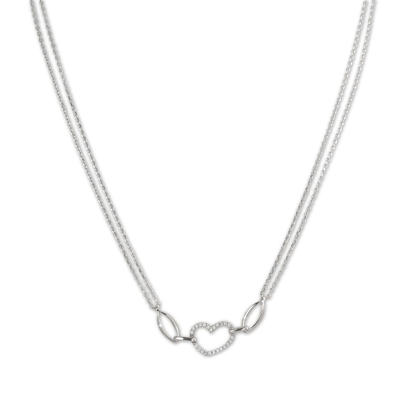 SilberDream Kette Herz Zirkonia weiß 925er Silber 45cm Halskette SDK423W