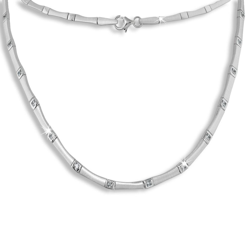 SilberDream Collier Kette Zirkonia weiß 925er Silber 44cm Halskette SDK436W