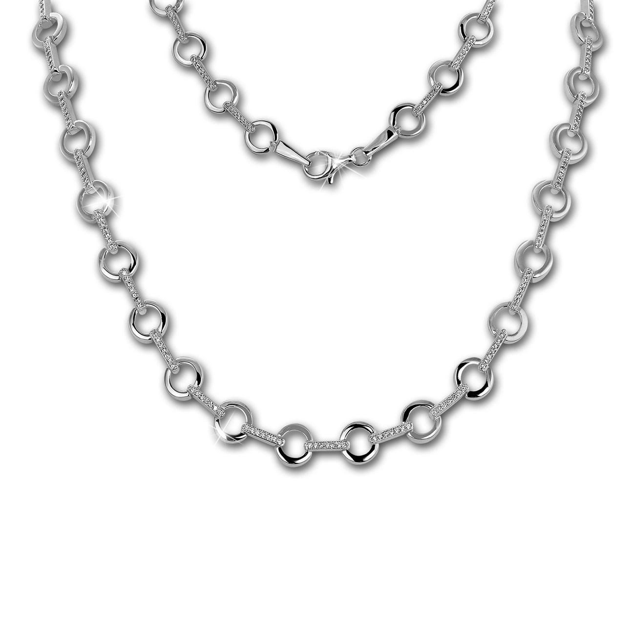 SilberDream Collier Circle Zirkonia weiß 925er Silber 45cm Halskette SDK450W