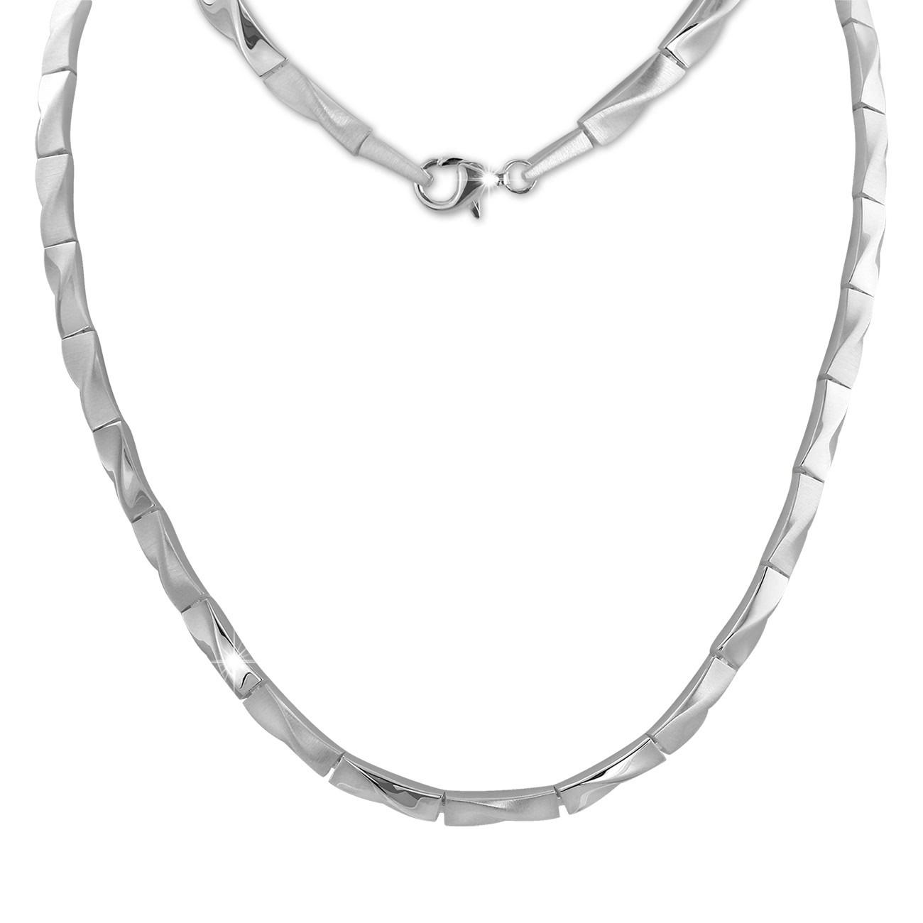 SilberDream Collier Kette Zopf 925 Sterling Silber 45cm Halskette SDK463J