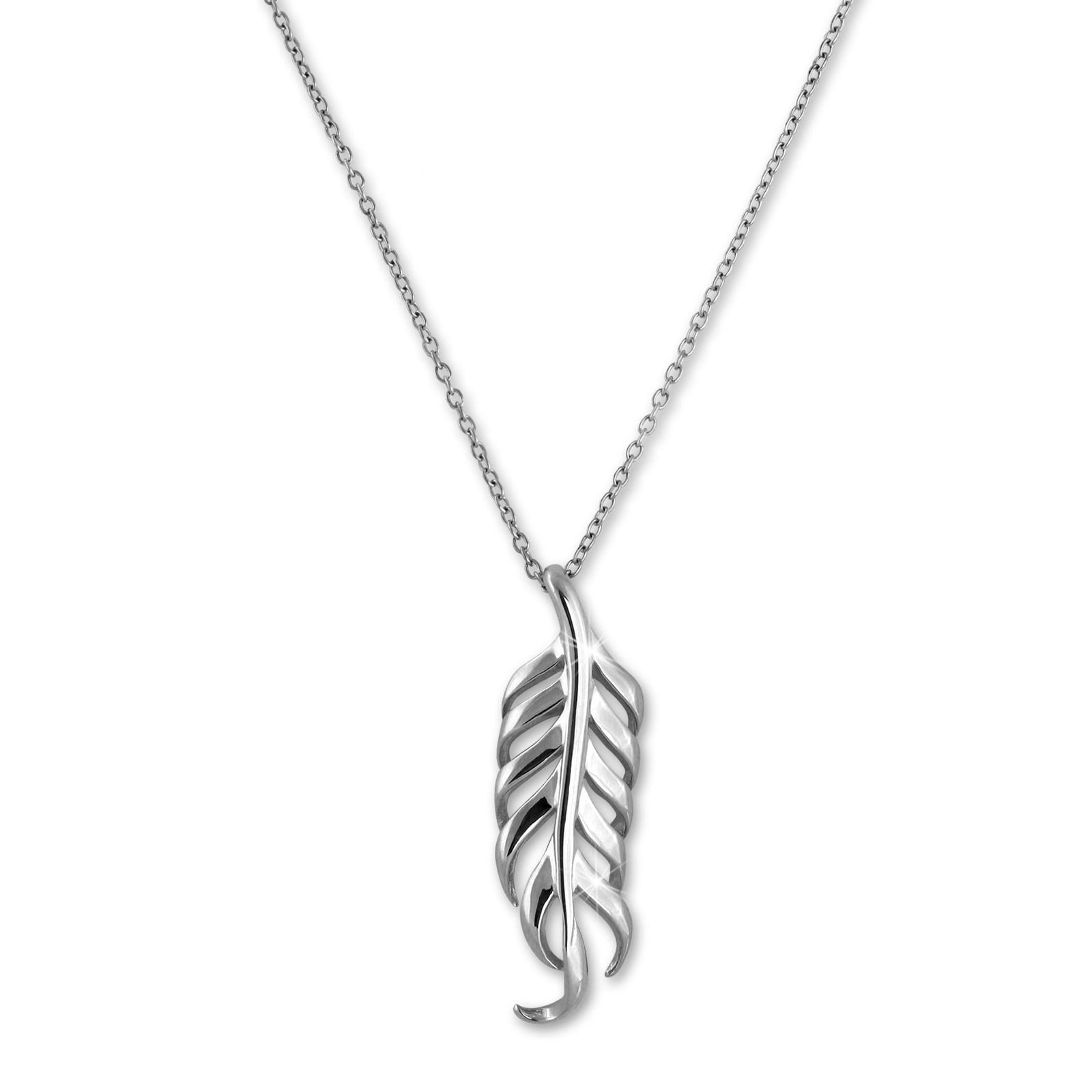 SilberDream Halskette mit Anhänger Feder 44cm - 47cm 925er Silber SDK50544J