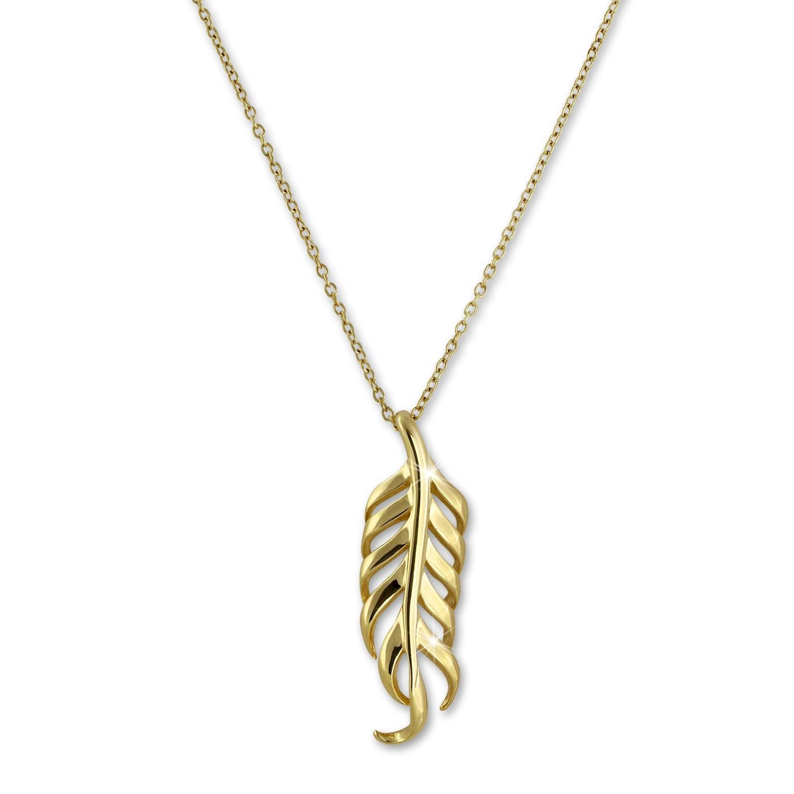 SilberDream Halskette Feder vergoldet 44cm - 47cm 925er Silber SDK50544Y