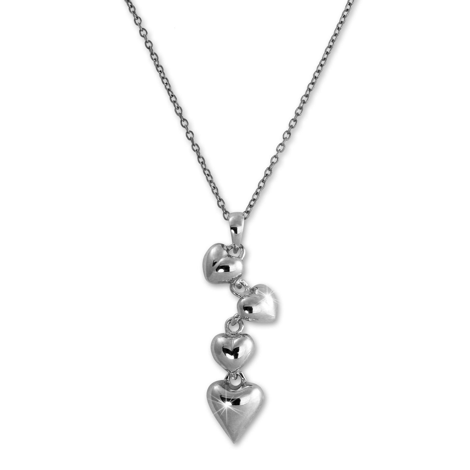 SilberDream Halskette mit Anhänger Herzen 44cm - 47cm 925er Silber SDK50644J