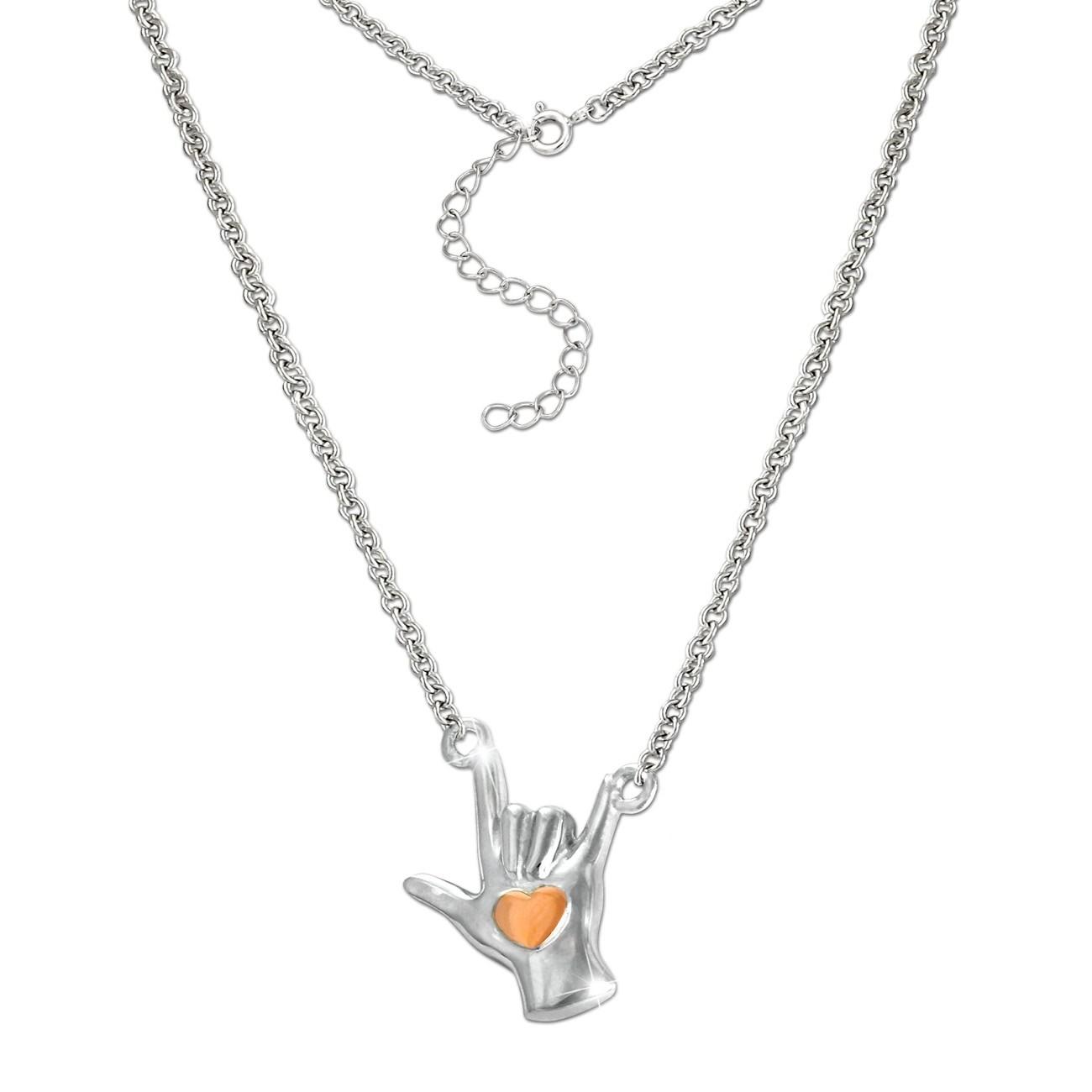 SilberDream Collier Kette Handzeichen -Ich liebe dich- 925 Silber 46cm SDK50844E