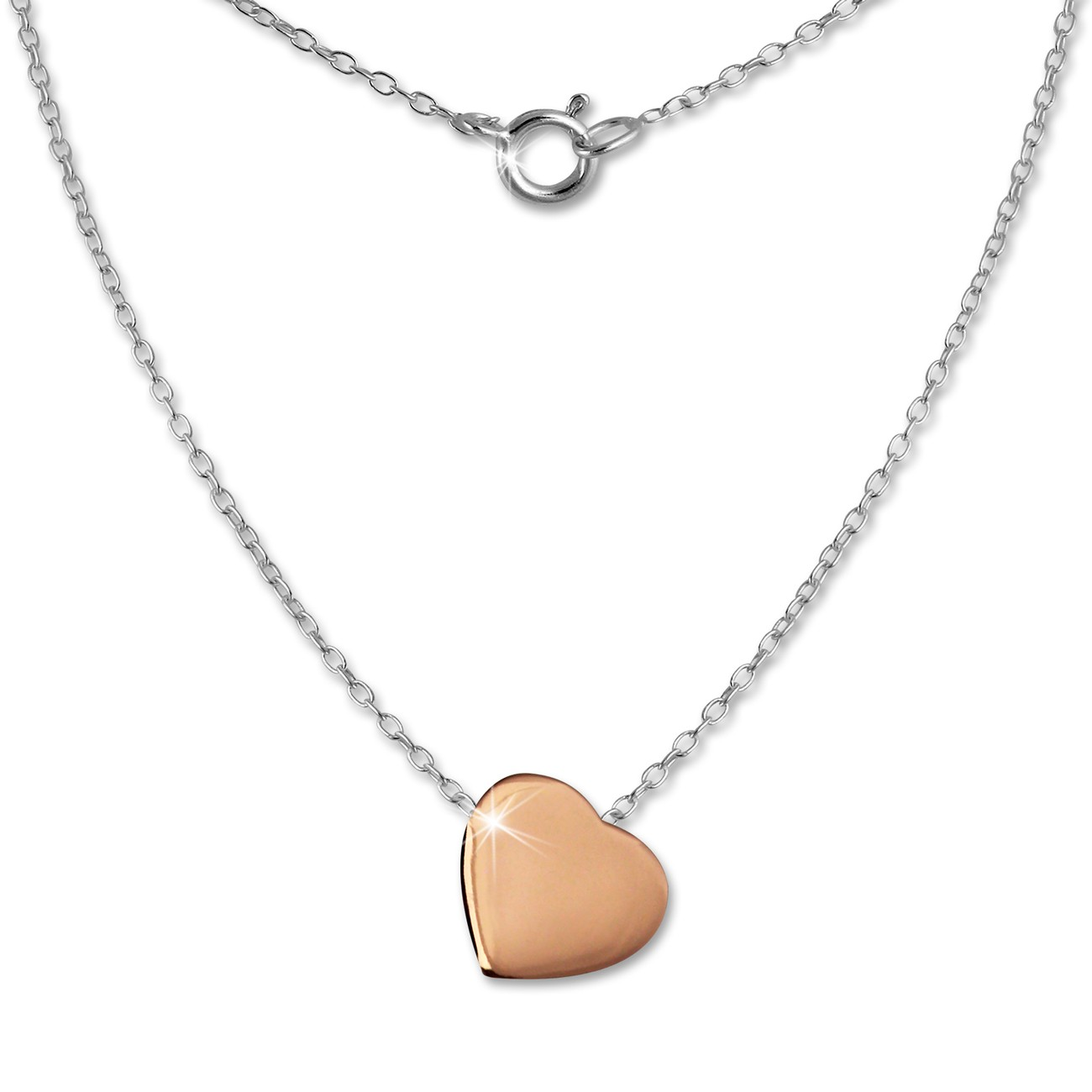 SilberDream Kette Herz rose vergoldet 925 Silber 45cm Halskette SDK8000E