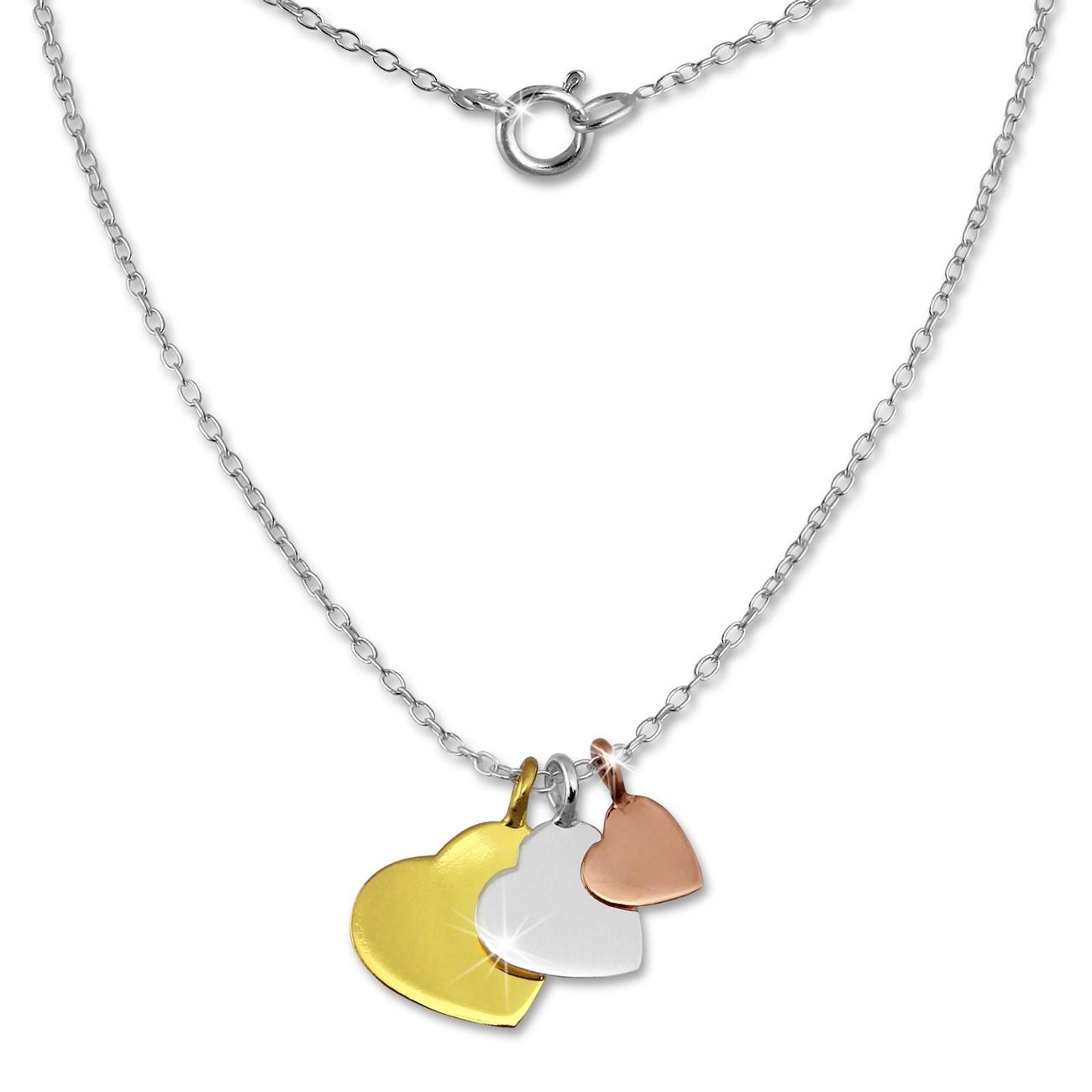 SilberDream Kette 3 Herzen vergoldet 925er Silber 45cm Halskette SDK8001F