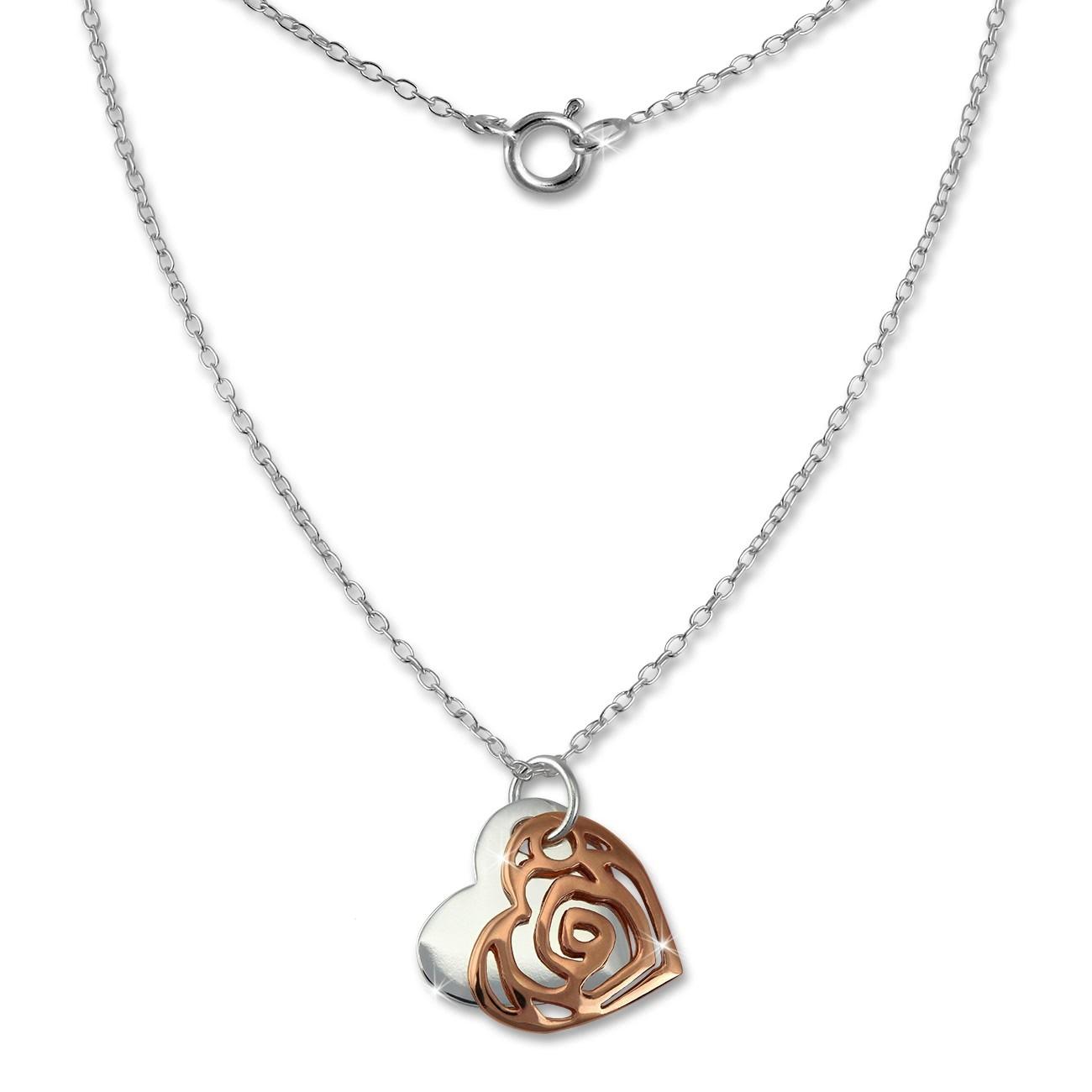 SilberDream Kette Doppel Herz rose vergoldet 925 Sterling Silber 45,5cm SDK8006E