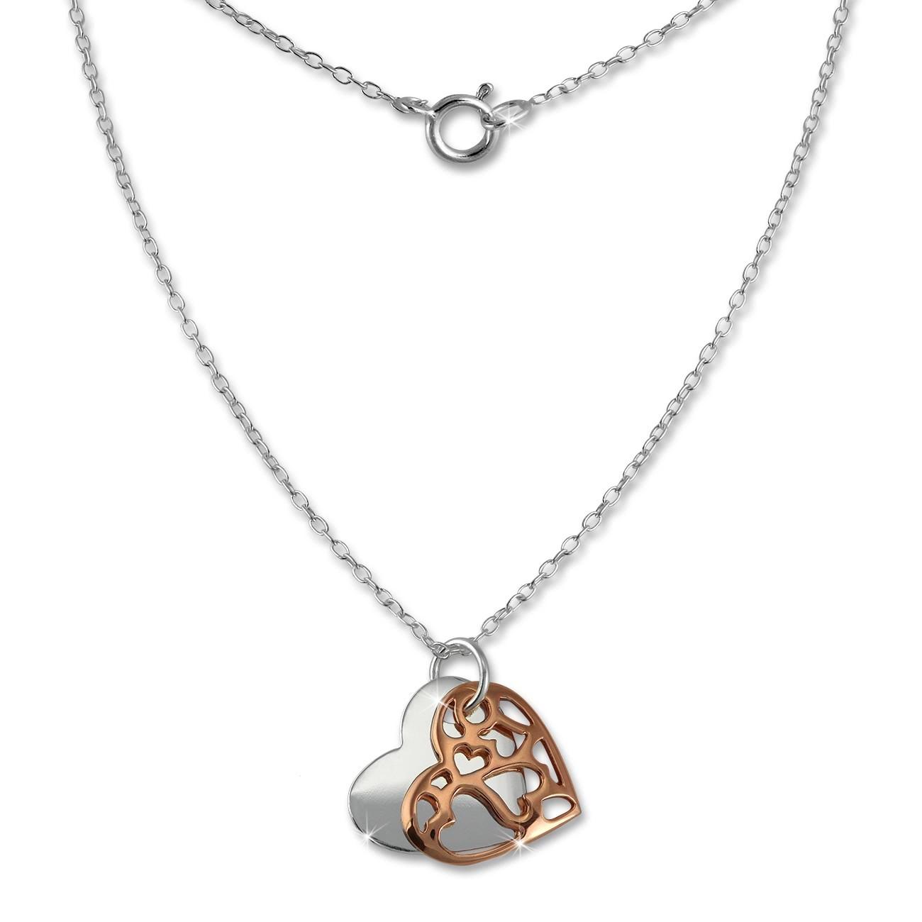 SilberDream Kette Doppel Herz rose vergoldet 925 Sterling Silber 45cm SDK8007E