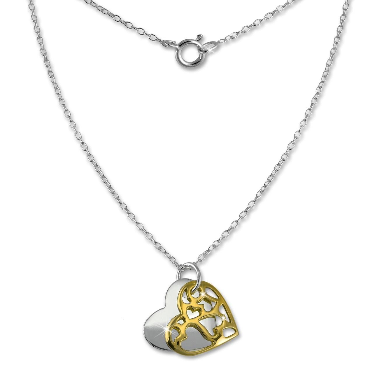 SilberDream Kette Doppel Herz vergoldet 925 Sterling Silber 45cm SDK8007Y