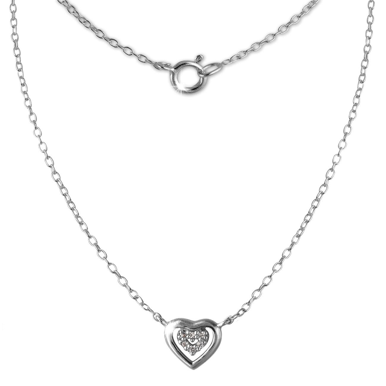 SilberDream Kette Herz 925er Sterling Silber 45cm Halskette SDK8009J