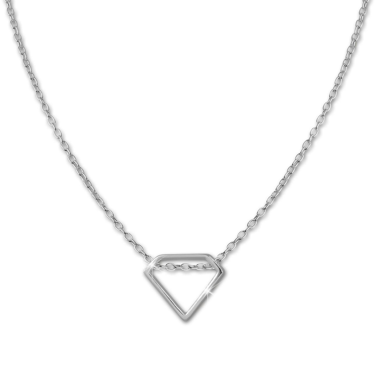SilberDream Kette Diamant-Form 925er Sterling Silber 46cm Halskette SDK8011J