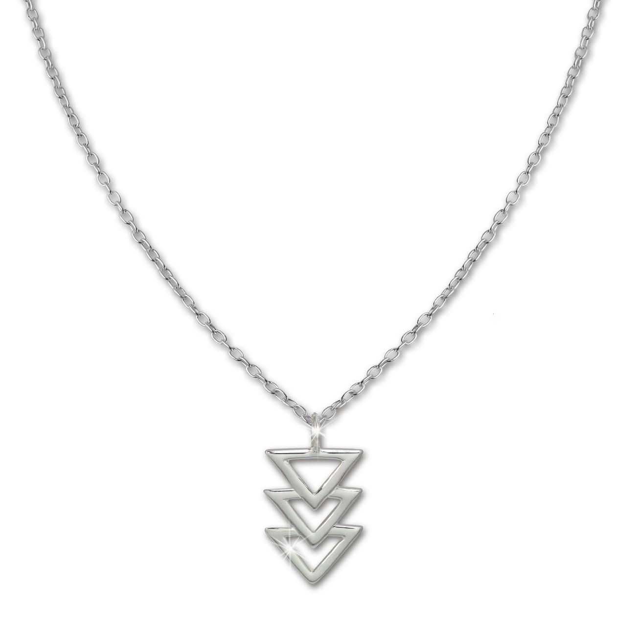 SilberDream Kette Dreiecke 925er Sterling Silber 45cm Damen Halskette SDK8013J