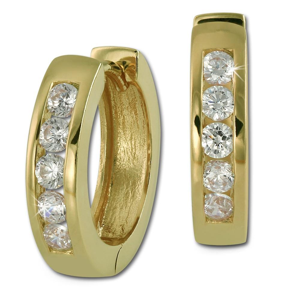 SilberDream Creole vergoldet Zirkonia weiß Ohrring 925 Silber Schmuck SDO0045WY