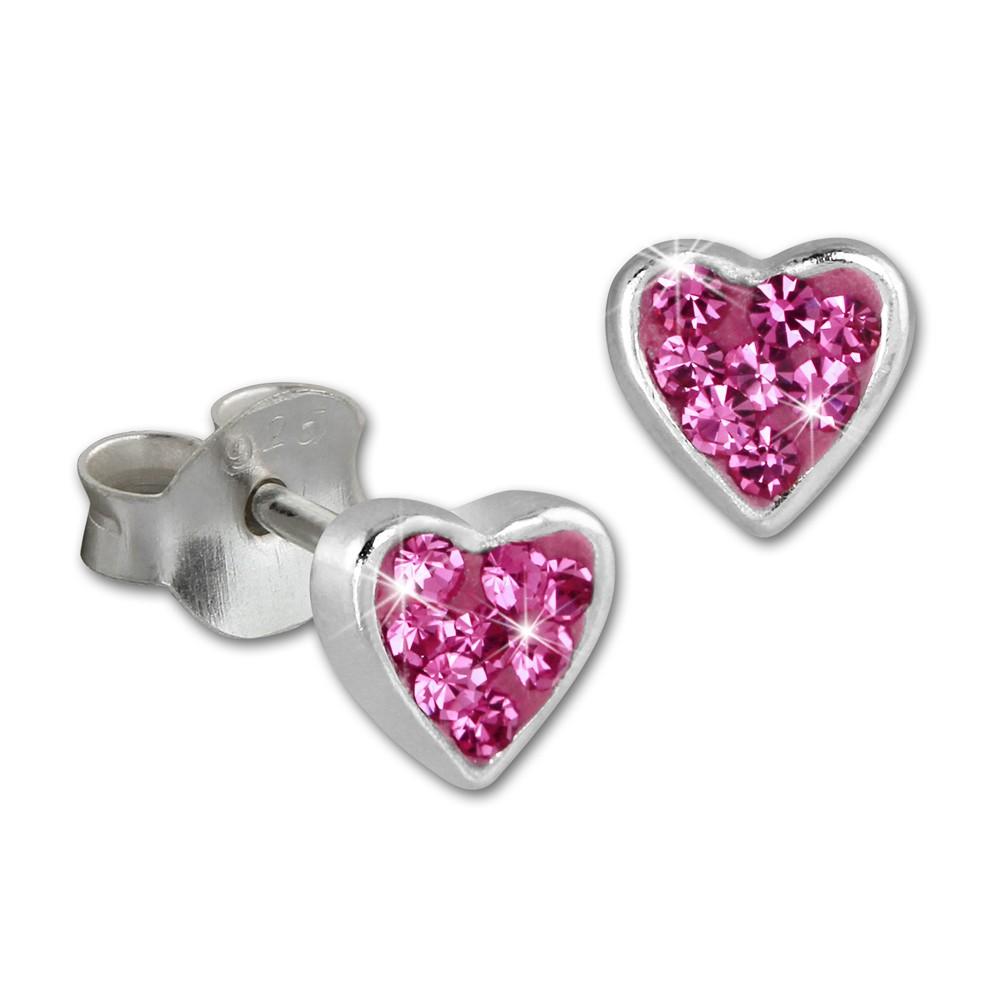 SilberDream Kinder Ohrringe Herzchen Zirkonia rosa 925er SDO009A