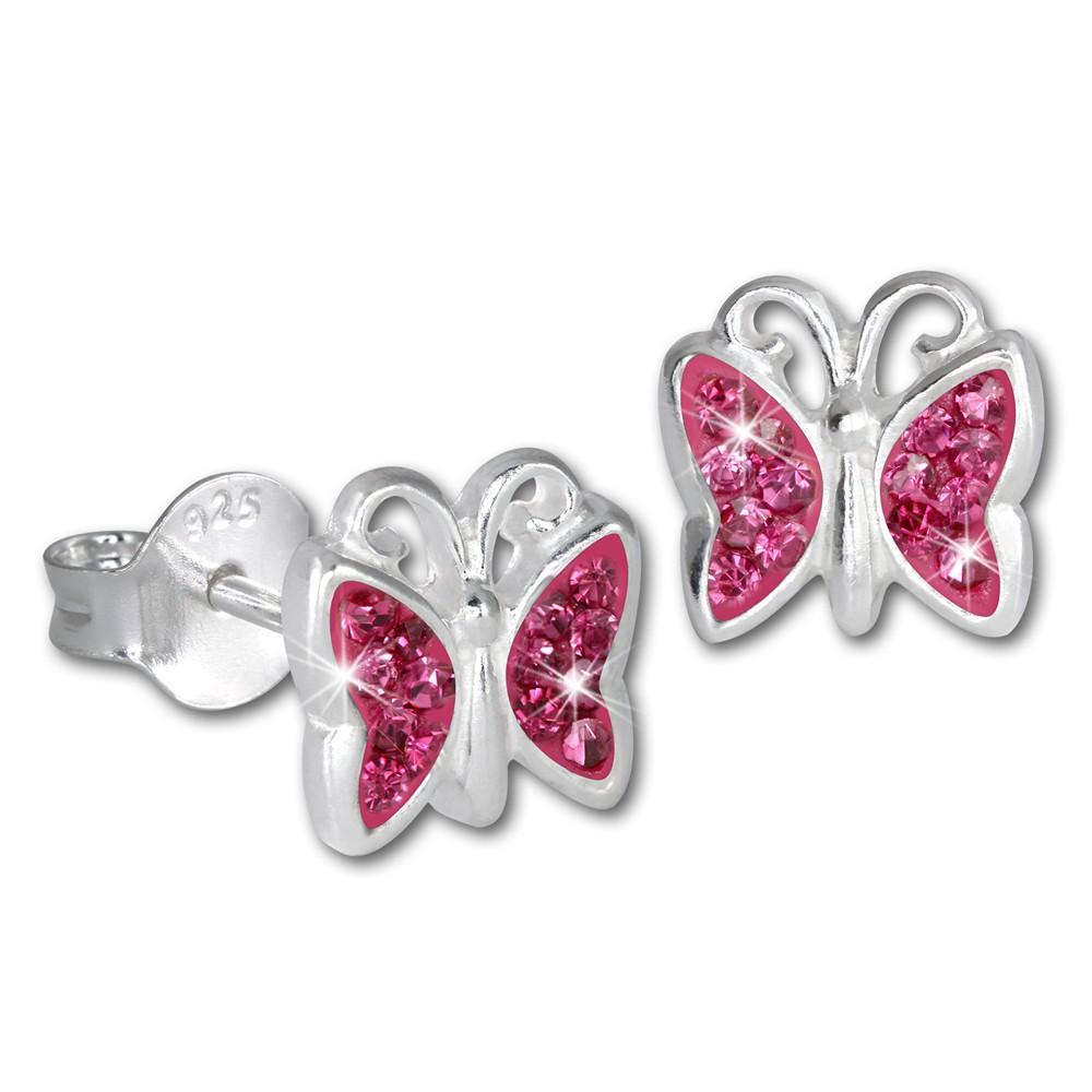 Teenie-Weenie Kinder Ohrringe Schmetterling Zirkonia rosa 925er SDO094A