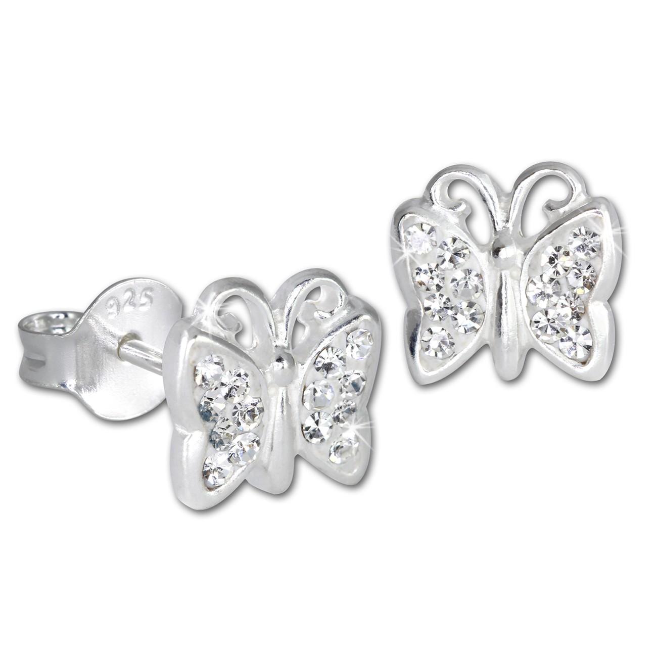 SilberDream Kinder Ohrringe Schmetterling Zirkonia weiß 925er SDO094W