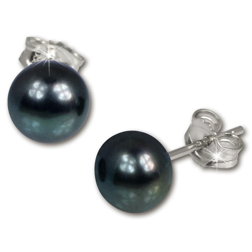 SilberDream Ohrstecker Süßwasser Perle schwarz 8mm 925 Silber SDO108S