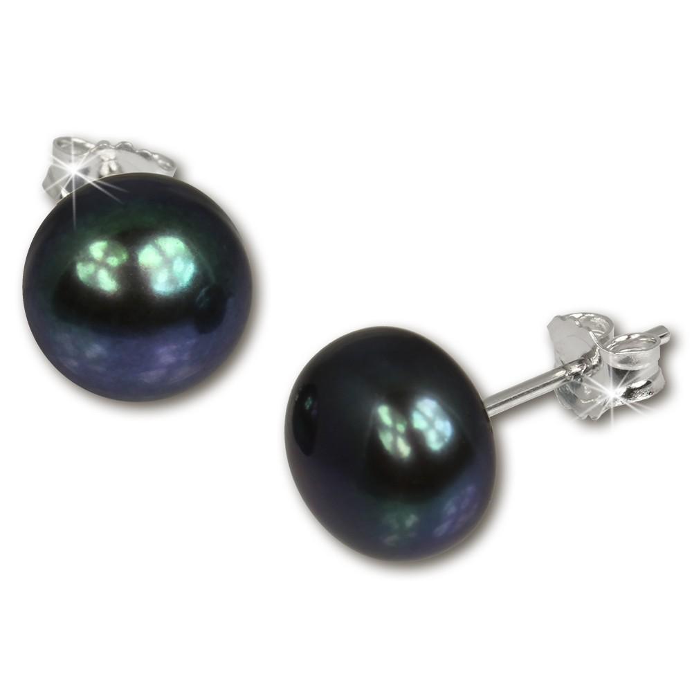 SilberDream Ohrstecker Süßwasser Perle schwarz 10mm 925 Silber SDO110S