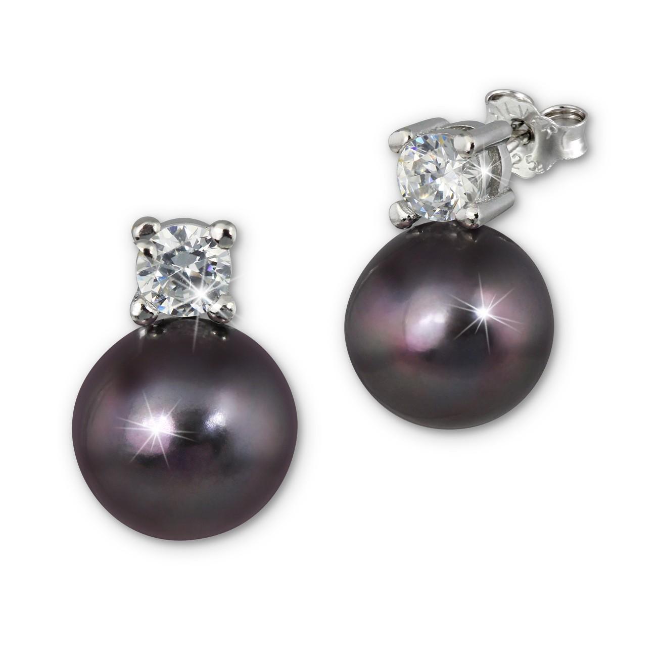 SilberDream Ohrstecker Perle schwarz Zirkonia Damen 925er Silber SDO1738S