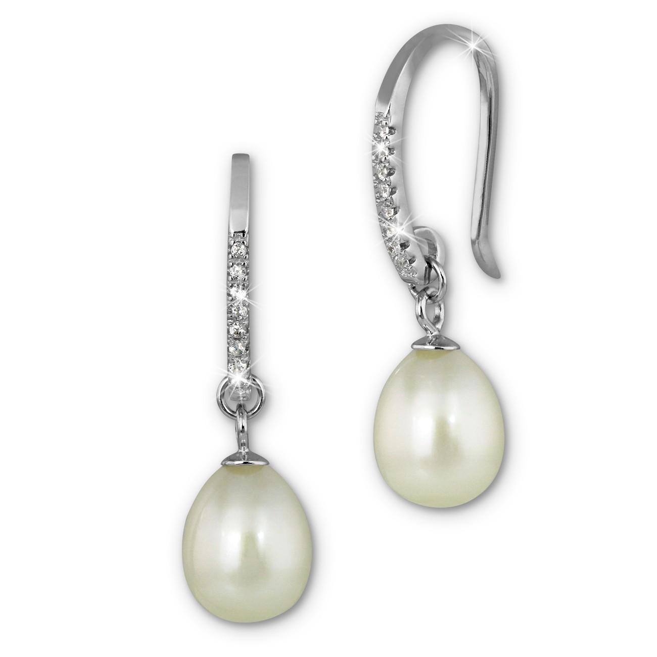 SilberDream Ohrhänger Süßwasser Perle weiß mit Zirkonias 925 Silber SDO1758W