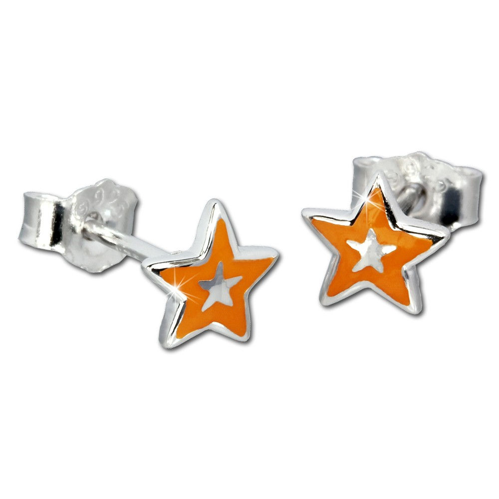 Kinder Ohrring Stern orange Silber Ohrstecker Kinderschmuck TW SDO200O